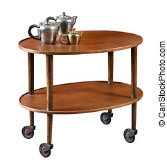 Oval mahogany serving cart on wheels with a single lower...
