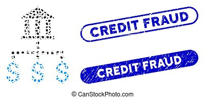 Oval Mosaic Bank Payments with Distress Credit Fraud Seals