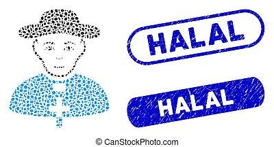 Oval Mosaic Catholic Shepherd with Distress Halal Stamps