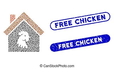 Oval Mosaic Cock House with Grunge Free Chicken Stamps