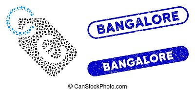 Oval Mosaic Euro Tag with Distress Bangalore Watermarks