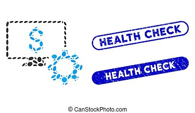 Oval Mosaic Financial Monitoring Options with Grunge Health Check Watermarks