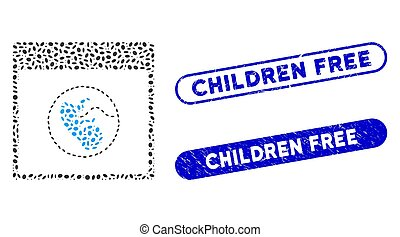 Oval Mosaic Human Embryo Calendar Page with Distress Children Free Watermarks