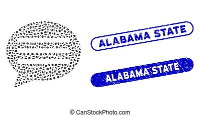 Oval Mosaic Message Cloud with Scratched Alabama State Seals