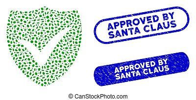 Oval Mosaic Shield Valid with Scratched Approved by Santa Claus Seals