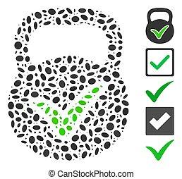 Dot Mosaic based on valid mass. Mosaic vector valid mass is composed with random elliptic elements. Bonus icons are added.