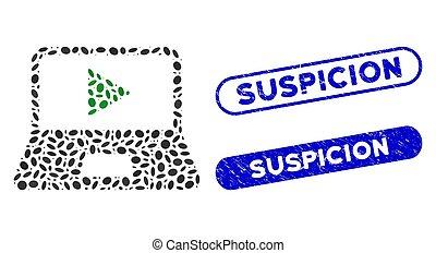 Oval Mosaic Webcast Laptop with Scratched Suspicion Seals