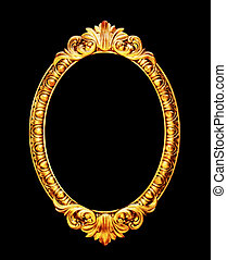 Oval old mirror frame photo isolated on black