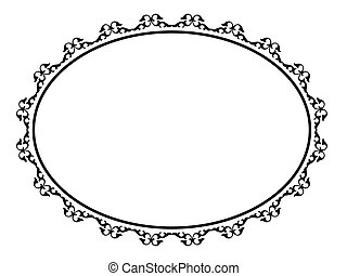 oval ornamental decorative frame - Vector oval black...