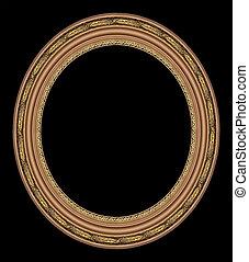 oval, oro de marco de fotografía