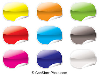 Nine oval shaped icons with the corner curled up