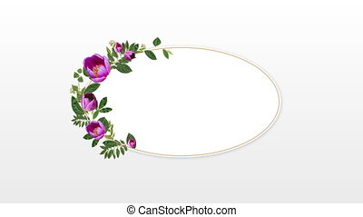 photo frame for copy space with decorative pink flowers - ...