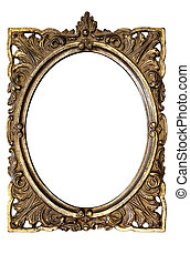 Oval Picture Frame - Grungy golden picture frame to put your...