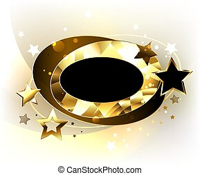 Oval polygonal banner with stars