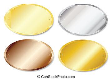 oval, puerta, placas