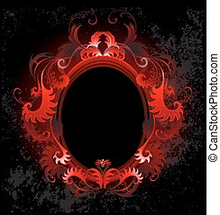 patterned, red, oval banner on a black background.