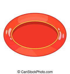Oval red button icon, cartoon style