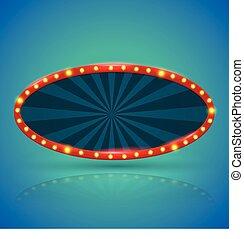 Oval retro light banner