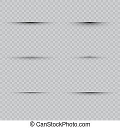 Oval shadow with soft edges vector set on checkered background