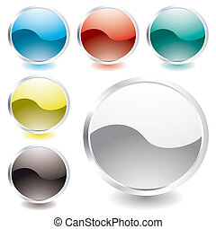 collection of six oval icons with light reflection and silver bevel