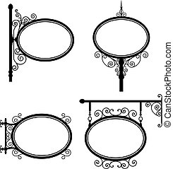 Oval Sign - Black and white wrought iron oval signs set