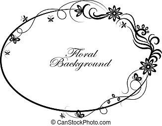 oval, simples, quadro, ornamental