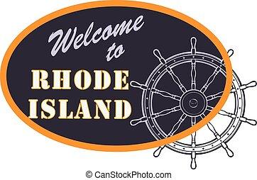 oval, sinal, bem-vindo, para, rhode island