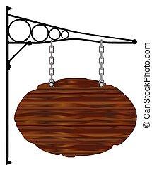oval, sinal, e, suporte