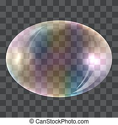 Oval soap bubble concept background, realistic style - Oval...