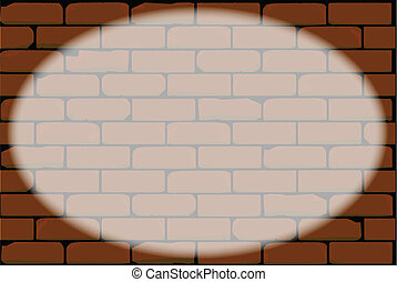Oval Spotlight - Spotlight playing accross a red brick wall.