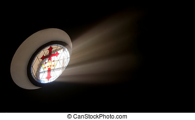 Oval stained glass window with Santiago cross - Oval stained...