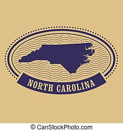 Oval stamp with North Carolina map