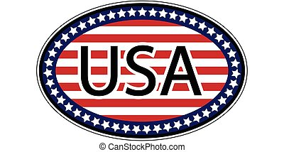 Oval sticker USA