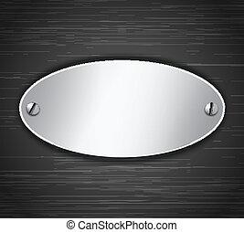 oval, tabuleta, metálico