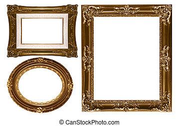 oval, und, rechteckig, dekorativ, gold, leerer , wand, bild rahmt