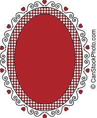 Oval Valentine Frame or Tag With Gi - Oval Valentine frame...