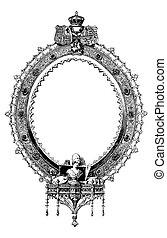 oval, viktorian, vektor, ram, inbillning