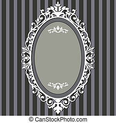 Decorative oval frame on stripe grey background with space for your text, vector illustration.