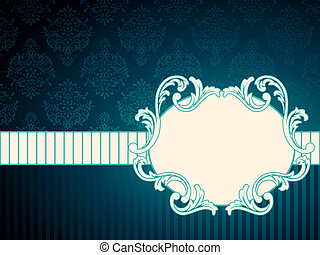 Elegant deep blue label inspired by Rococo era designs. Graphics are grouped and in several layers for easy editing. The file can be scaled to any size.