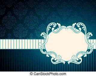 Oval vintage rococo label - Elegant deep blue label inspired...