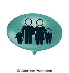 oval, vortrag halten , mit, piktogramm, von, familie gruppe