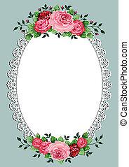 oval, weinlese, rahmen, rosen