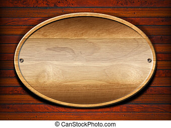 Oval Wood Board on Wall - Wooden plate on wooden and old...