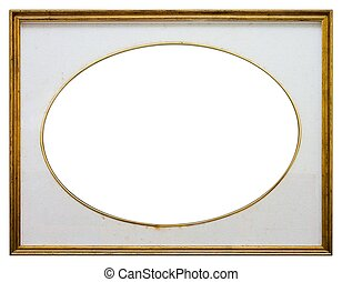 Oval wooden frame - Oval frame isolated on white background