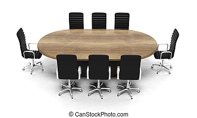 Oval wooden meeting room table with leather chairs isolated on white
