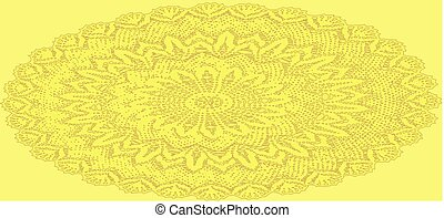 Oval Yellow Crochet Doily