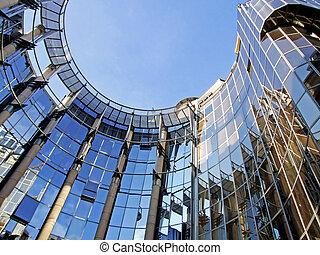 ovale, bâtiment, business, 6