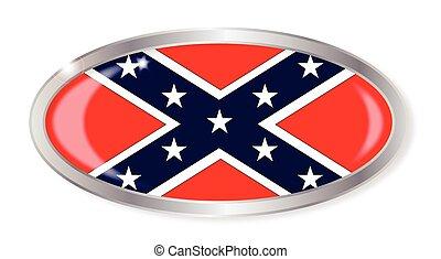 ovale, bandiera, bottone, confederato