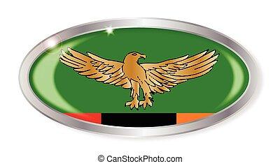 ovale, bandiera zambia, bottone