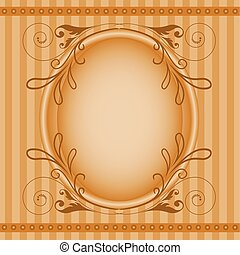 ovale, brun, cadre